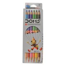 DOMS Bi Colours 12 Shades Pencil (6 Nos) - Pack of 1