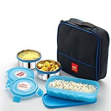 Cello Max Fresh Perfect 3 Container Lunch Box With Bag, Blue