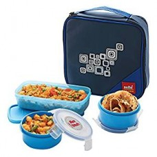 Cello Max Fresh Regent 3 Container Lunch Box With Bag, Blue