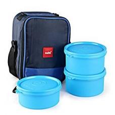 Cello Max Fresh Joy Plastic Lunch Box Set, 3-Pieces, Blue