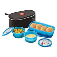 Cello Max Fresh Plastic Lunch Box Set, 3-Pieces, Blue (CMF_MY LUNCH_BLUE)