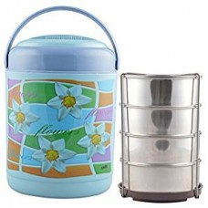 Cello Cosmos Insulated 4 Container Lunch Carrier, Blue