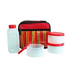 Cello Go 4 Eat Plastic Container Set, 4-Pieces, Red