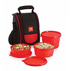 Cello Max Fresh Super Polypropylene Lunch Box Set, 3-Pieces, Red