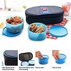 Cello Max Fresh Joy Plastic Lunch Box Set, 350ml, Set of 2, Blue