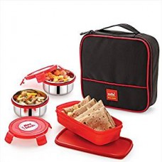 Cello Max Fresh Perfect 3 Container Lunch Box With Bag, Red