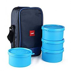 Cello Max Fresh Delight Plastic Lunch Box with Bag, 4-Pieces, Blue