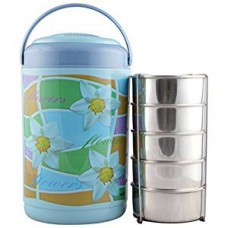 Cello Cosmos Insulated 5 Container Lunch Carrier, Blue