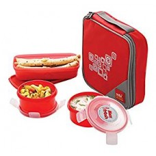 Cello Max Fresh Regent 3 Container Lunch Box With Bag, Red