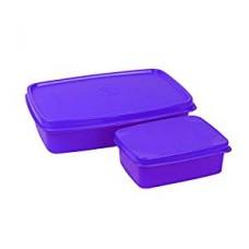 Cello Max Fresh Compact Polypropylene Lunch Box Set, 200ml/18.9cm, Set of 2, Purple