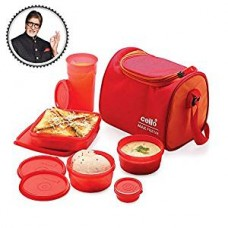 Cello Max Fresh Sling 5 Container Lunch Box With Bag, Orange