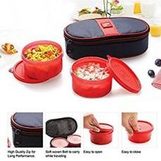 Cello Max Fresh Joy Plastic Lunch Box Set, 350ml, Set of 2, Red