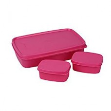 Cello Max Fresh Compact Polypropylene Lunch Box Set, 100ml/22.3cm, Set of 3, Pink