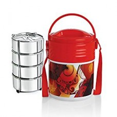 Cello Stainless Steel Lunch Box Set, 355ml, Set of 4, Red