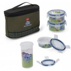 Fit & Fresh LUNCH BOX SET OF 4 PIECES ROUND WITH THERMAL BAG