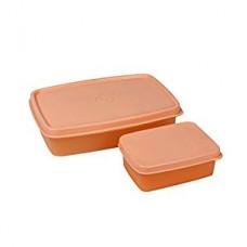 Cello Max Fresh Compact Polypropylene Lunch Box Set, 200ml/18.9cm, Set of 2, Peach