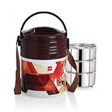Cello Stainless Steel Lunch Box Set, 355ml, Set of 3, Brown