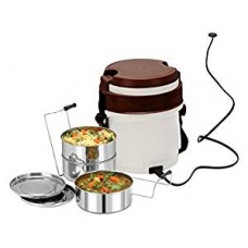 Cello Newton 3 Container Electric Lunch Box-White Brown