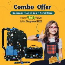 Space Theme (Black) Combo Deal: Smily Dual Color Backpack + Lunch Bag + Pencil Case + FREE Slapband